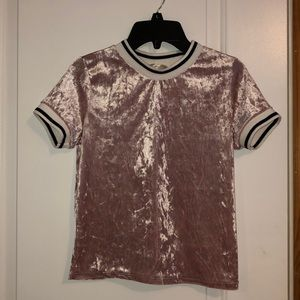 Pink Velvet Short-sleeve Top